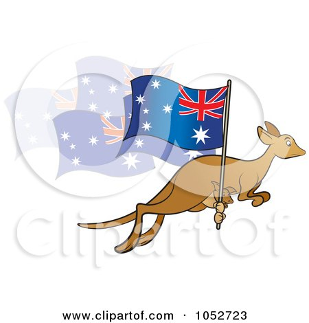 Royalty-Free Vector Clip Art Illustration of a Kangaroo And Joey With An Aussie Flag - 1 by Lal Perera