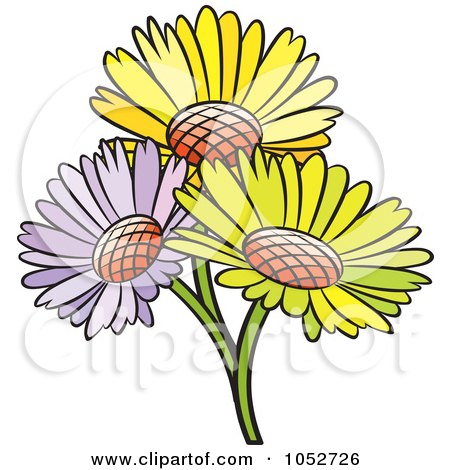 Royalty-Free Vector Clip Art Illustration of a Trio Of Daisy Flowers by Lal Perera