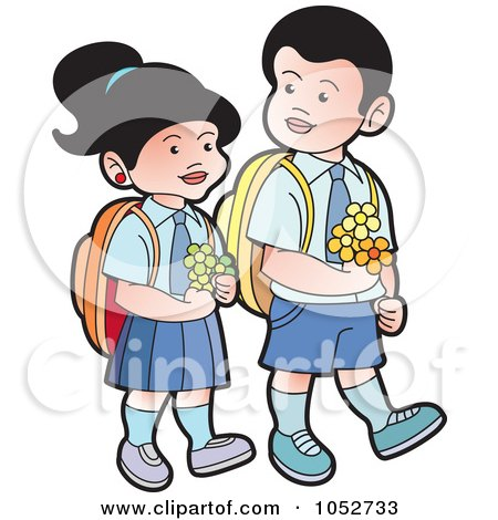 Royalty-Free Vector Clip Art Illustration of School Kids Carrying Flowers - 1 by Lal Perera