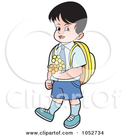 Royalty-Free Vector Clip Art Illustration of a School Boy Carrying Flowers - 1 by Lal Perera