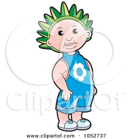Royalty-Free Vector Clip Art Illustration of a Kid Wearing A Green Crown by Lal Perera