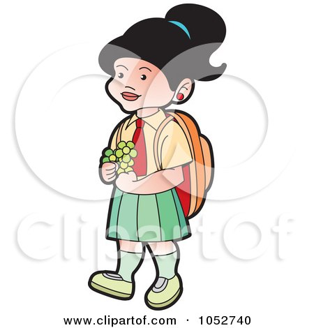 Royalty-Free Vector Clip Art Illustration of a School Girl With Flowers - 2 by Lal Perera