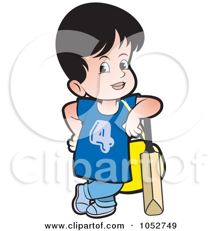 Royalty-Free Vector Clip Art Illustration of a Girl With A Purse And Cricket Bat by Lal Perera