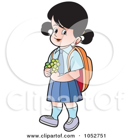 Royalty-Free Vector Clip Art Illustration of a School Girl With Flowers - 1 by Lal Perera