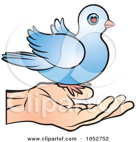 Royalty-Free Vector Clip Art Illustration of a Blue Dove On A Hand by Lal Perera