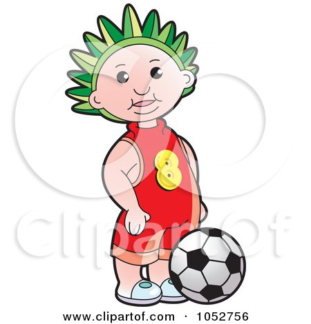 Royalty-Free Vector Clip Art Illustration of a Boy By A Soccer Ball by Lal Perera