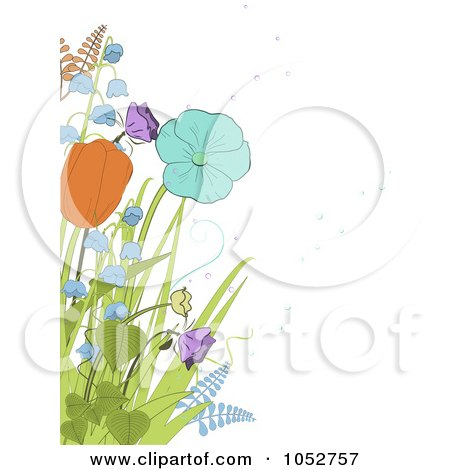 Royalty-Free Vector Clip Art Illustration of Spring Tulips, Bell Flowers And Ferns Over White by elaineitalia