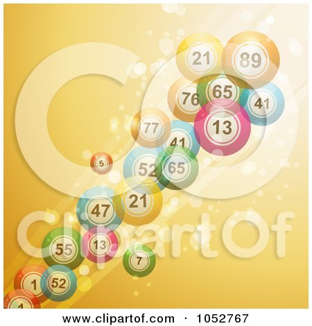 Royalty-Free Vector Clip Art Illustration of 3d Bingo Balls Over A Sparkly Golden Yellow Background by elaineitalia