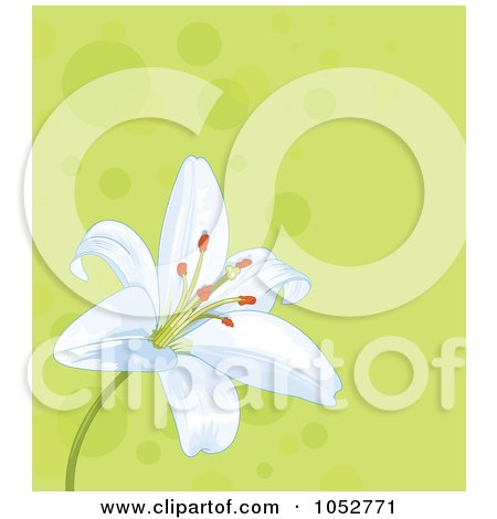 Royalty-Free Vector Clip Art Illustration of a Green Polka Dot Background With A White Easter Lily by Pushkin