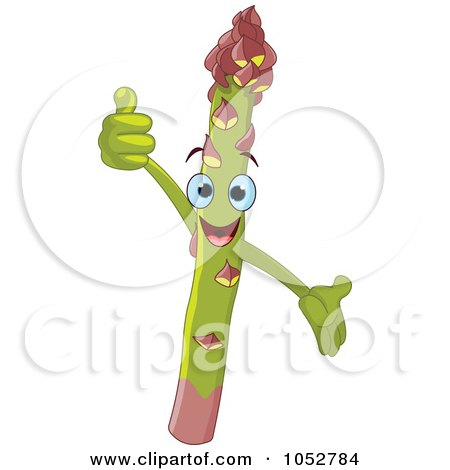 Royalty-Free Vector Clip Art Illustration of a Happy Asparagus Character by Pushkin