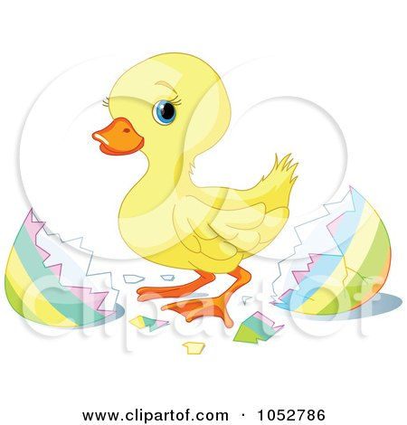 Royalty-Free Vector Clip Art Illustration of a Cute Easter Duckling by Pushkin