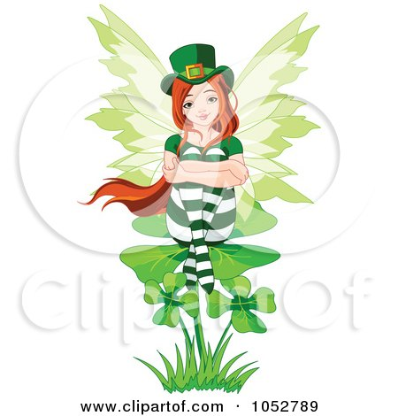 Royalty-Free Vector Clip Art Illustration of a St Patricks Day Fairy Sitting On A Shamrock by Pushkin
