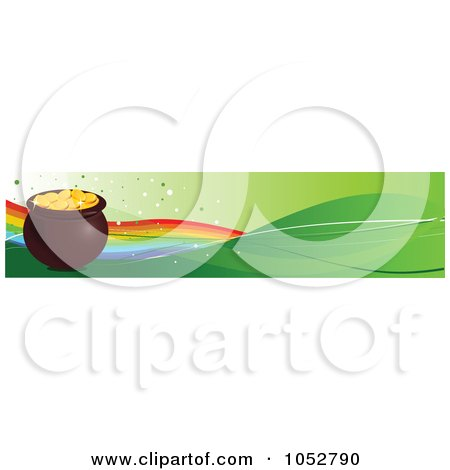 Royalty-Free Vector Clip Art Illustration of a Pot Of Gold And Rainbow Hat St Patricks Day Banner by Pushkin
