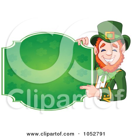 Royalty-Free Vector Clip Art Illustration of a Friendly Leprechaun Holding A Blank St Patricks Day Sign by Pushkin