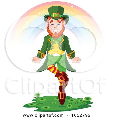 Royalty-Free Vector Clip Art Illustration of a Leprechaun Dancing Under A Rainbow by Pushkin
