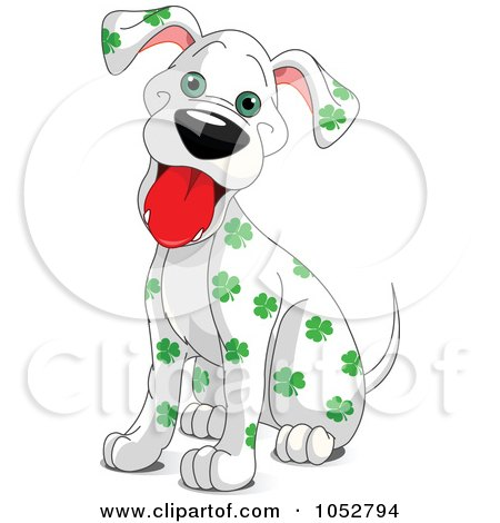 Royalty-Free Vector Clip Art Illustration of a Clover Spotted St Patricks Day Dalmatian Dog by Pushkin