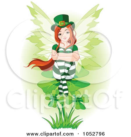 Royalty-Free Vector Clip Art Illustration of a St Patricks Day Fairy Sitting On A Clover by Pushkin
