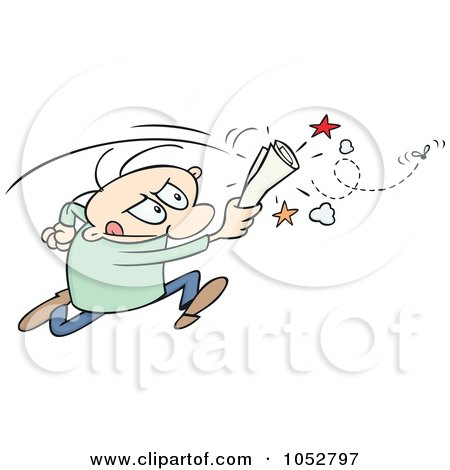 Royalty-Free Vector Clip Art Illustration of a Toon Guy Chasing A Fly With A Rolled Up Paper by gnurf