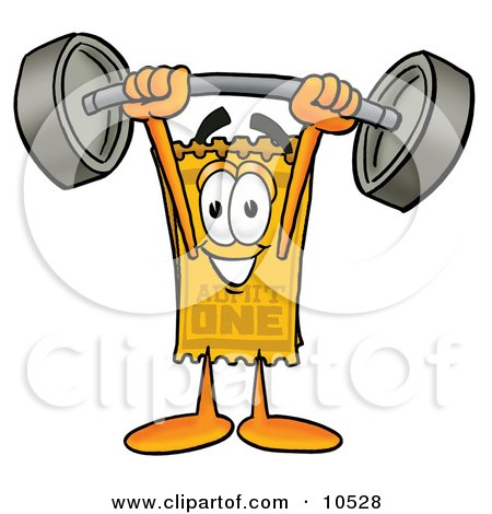 Clipart Picture of a Yellow Admission Ticket Mascot Cartoon Character Holding a Heavy Barbell Above His Head by Toons4Biz