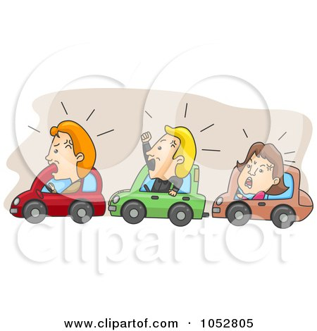 Royalty-Free Vector Clip Art Illustration of Angry Commuters Stuck In Traffic by BNP Design Studio