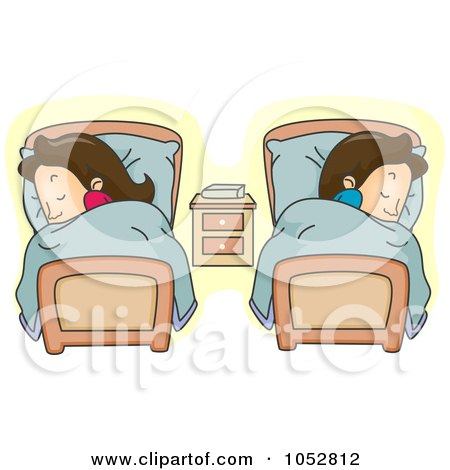 Royalty-Free Vector Clip Art Illustration of a Couple Sleeping In Separate Beds by BNP Design Studio