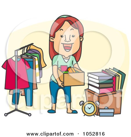 Royalty-free clipart illustration of a woman organizing a garage sale,