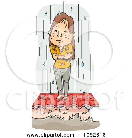 Royalty-Free Vector Clip Art Illustration of a Cold Woman Standing In Ran On A Roof During A Flood by BNP Design Studio