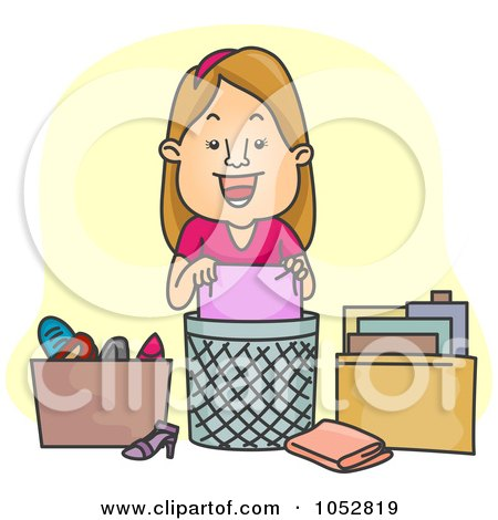 Royalty-Free Vector Clip Art Illustration of a Woman Organizing And De-Cluttering by BNP Design Studio