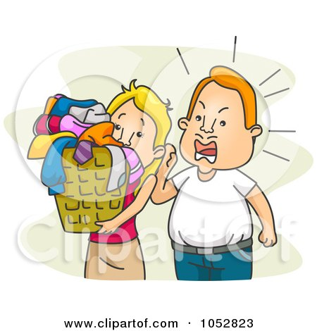 Royalty-Free Vector Clip Art Illustration of a Mean Husband Yelling At His Wife To Do Laundry by BNP Design Studio
