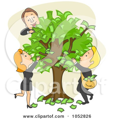 Royalty-Free Vector Clip Art Illustration of Business People Pulling Cash Off Of A Money Tree by BNP Design Studio