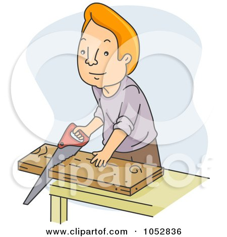 Royalty-Free Vector Clip Art Illustration of a Man Sawing Wood by BNP Design Studio