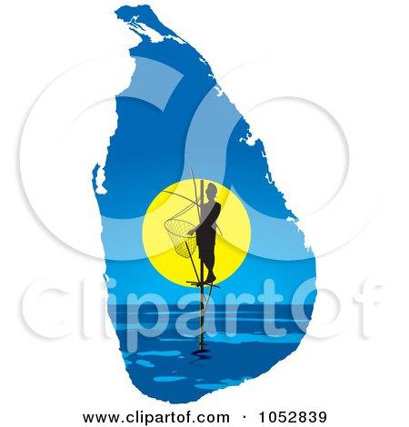 Royalty-Free Vector Clip Art Illustration of a Pole Fisherman On A Sri Lanka Map by Lal Perera