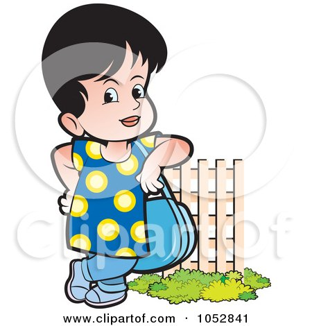 Royalty-Free Vector Clip Art Illustration of a Girl With A Purse By A Fence by Lal Perera