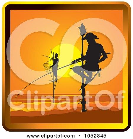 Royalty-Free Vector Clip Art Illustration of Pole Fishermen In Sri Lanka by Lal Perera
