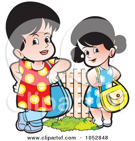 Royalty-Free Vector Clip Art Illustration of Girls With Purses by Lal Perera
