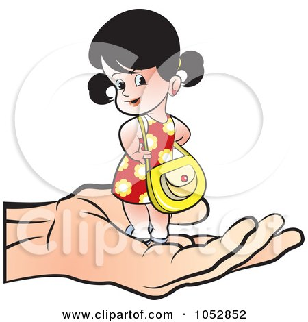 Royalty-Free Vector Clip Art Illustration of a Hand Holding A Girl With A Purse by Lal Perera