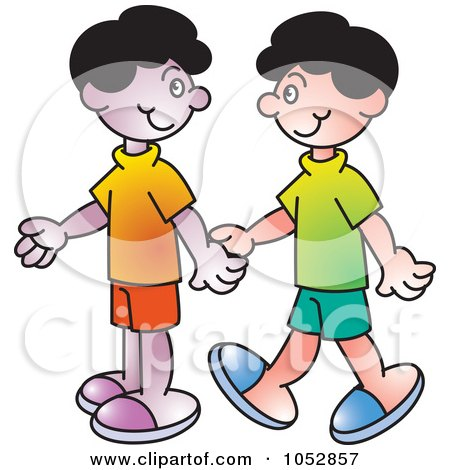 Royalty-Free Vector Clip Art Illustration of Two Boys Holding Hands by Lal Perera