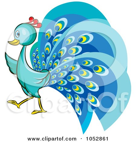 Royalty-Free Vector Clip Art Illustration of a Blue Peacock by Lal Perera