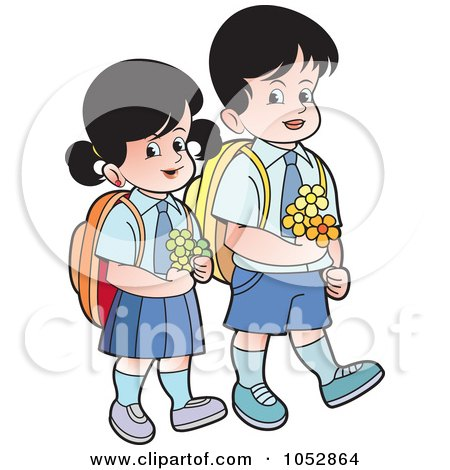 Royalty-Free Vector Clip Art Illustration of School Kids Carrying Flowers - 2 by Lal Perera