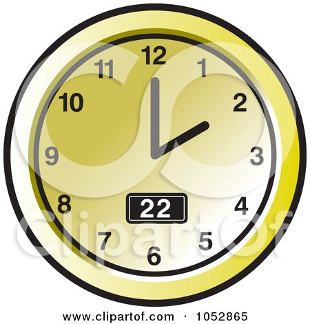 Royalty-Free Vector Clip Art Illustration of a Gold Wall Clock - 2 by Lal Perera