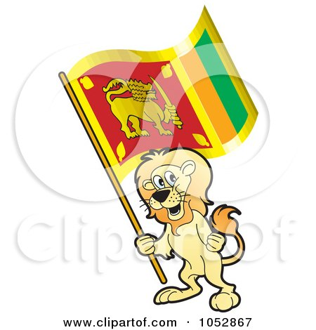 Royalty-Free Vector Clip Art Illustration of a Lion Holding A Sri Lanka Flag by Lal Perera