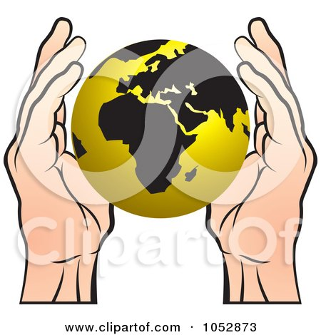Royalty-Free Vector Clip Art Illustration of Hands Around a Gold Globe by Lal Perera