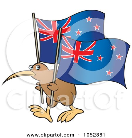 Royalty-free clipart illustration of a kiwi bird with New Zealand flags,