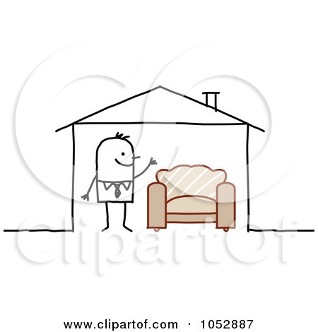 Royalty-Free Vector Clip Art Illustration of a Stick Figure Man With A Chair In His House by NL shop