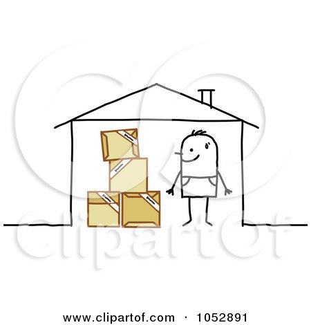 Royalty-Free Vector Clip Art Illustration of a Stick Figure Man With Moving Boxes In His House by NL shop
