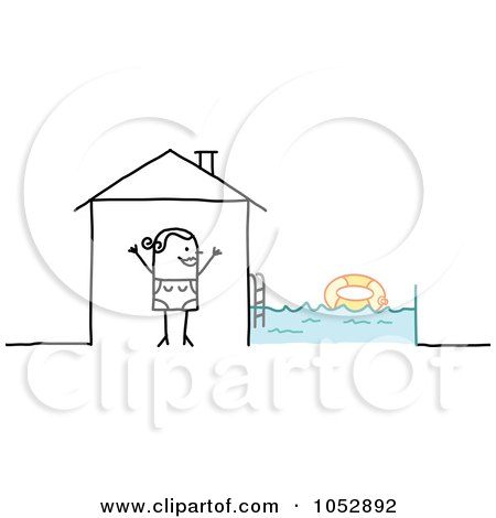 Royalty-Free Vector Clip Art Illustration of a Stick Figure Woman With A Swimming Pool In Her Back Yard by NL shop