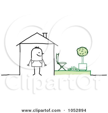 Royalty-Free Vector Clip Art Illustration of a Stick Figure Man In His House, With A Back Yard by NL shop