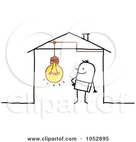 Royalty-Free Vector Clip Art Illustration of a Stick Figure Man With A Light Bulb In His House by NL shop