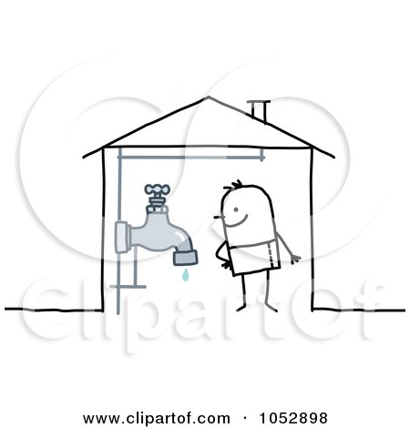 Royalty-Free Vector Clip Art Illustration of a Stick Figure Man With A Faucet In His House by NL shop