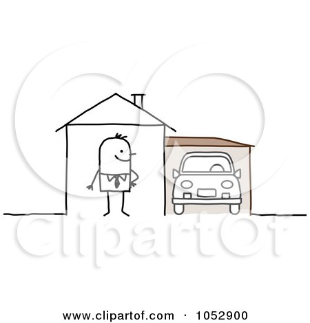 Royalty-Free Vector Clip Art Illustration of a Stick Figure Man With A Car In His Garage by NL shop